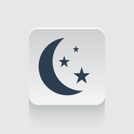prognosis: Flat black Moon And Stars icon on rounded square web button