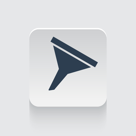 Flat black Funnel icon on rounded square web button