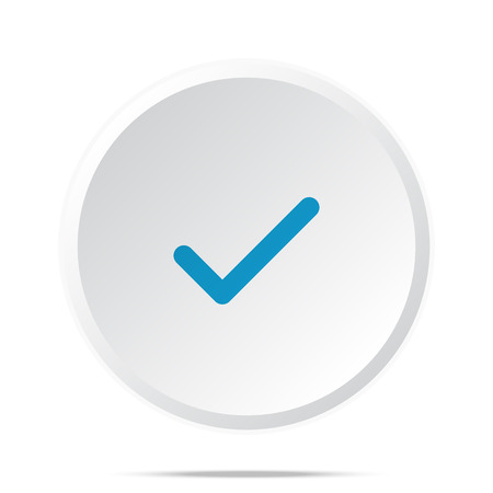 confirm: Flat blue Confirm icon on circle web button on white