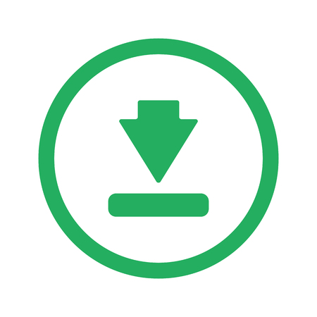downloads: Flat green Download icon and green circle