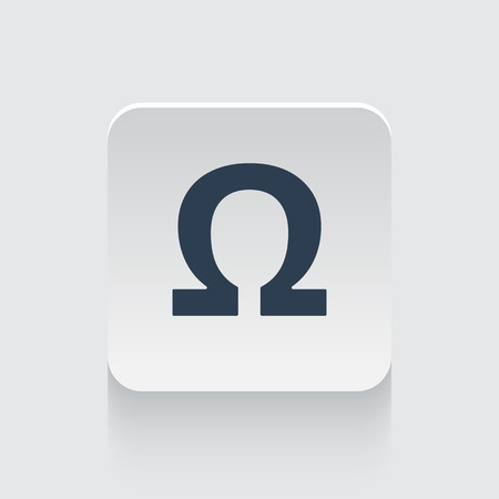 ohm symbol: Flat black Omega icon on rounded square web button