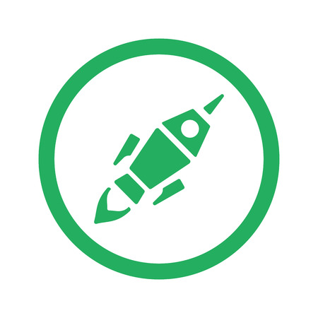 no fires: Flat green Rocket Launch icon and green circle