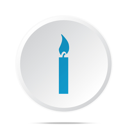 candle light: Flat blue Candle Light icon on circle web button on white Illustration