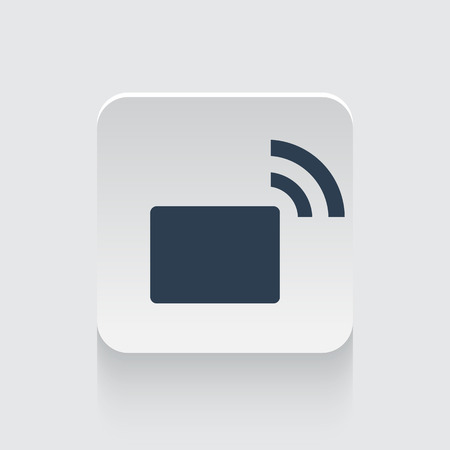 transmitter: Flat black Transmitter icon on rounded square web button