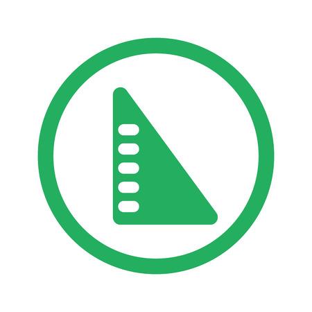 set square: Flat green Set Square icon and green circle