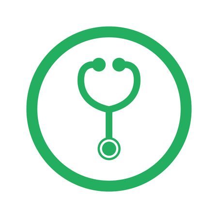 Flat green Stethoscope icon and green circle