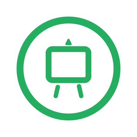 easel: Flat green Easel icon and green circle Illustration