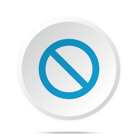 suppression: Flat blue Forbidden icon on circle web button on white Illustration