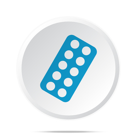 a tablet blister: Flat blue Tablet Strip icon on circle web button on white Illustration