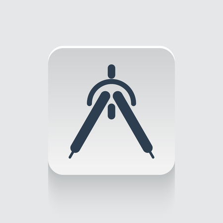drafting: Flat black Drafting Compass icon on rounded square web button
