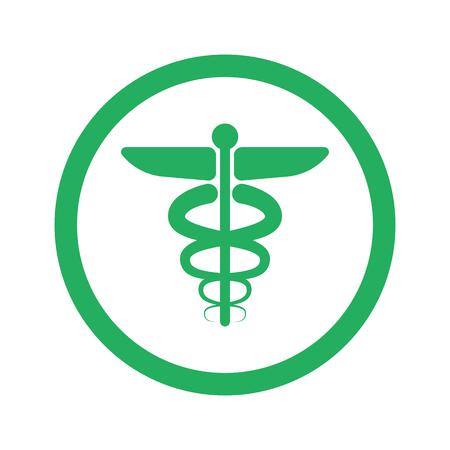 esculapio: Piso icono s�mbolo m�dico y el c�rculo verde Vectores