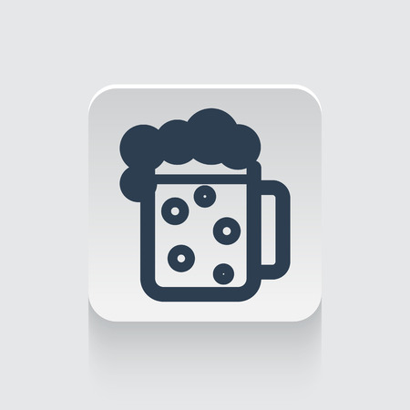 draughts: Flat black Beer icon on rounded square web button