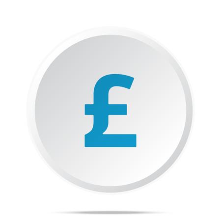 Flat blue Pound icon on circle web button on white