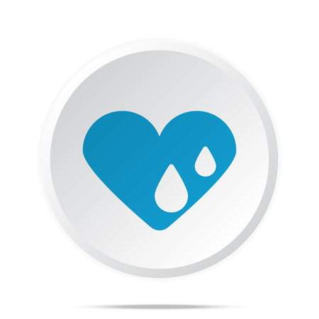 hes: Flat blue Heart Water icon on circle web button on white