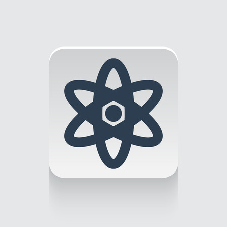 fission: Flat black Nuclear icon on rounded square web button