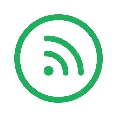 reading app: Flat green Rss icon and green circle