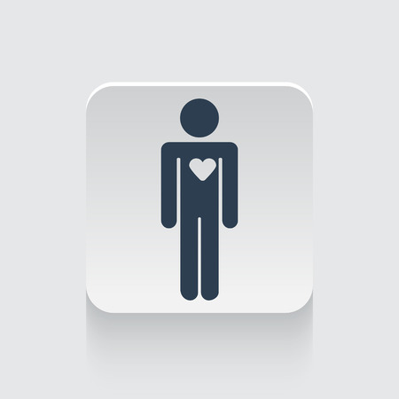 heart failure: Flat black Heart icon on rounded square web button