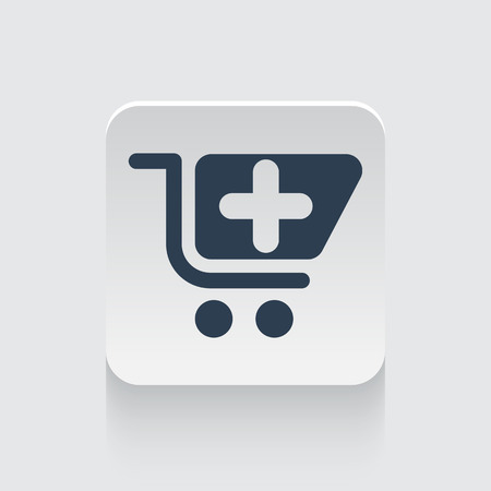pharmacy store: Flat black Pharmacy Store icon on rounded square web button Illustration