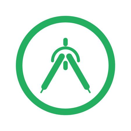 drafting: Flat green Drafting Compass icon and green circle