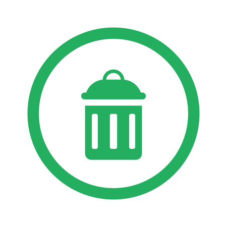 delete icon: Flat green Delete icon and green circle Illustration