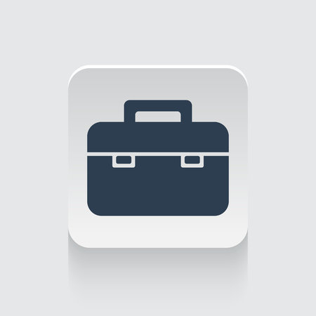 black briefcase: Flat black Briefcase icon on rounded square web button Illustration