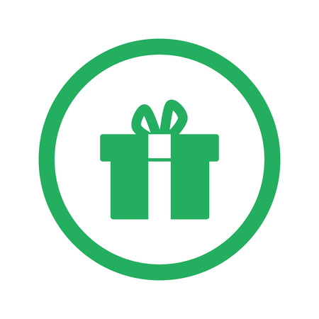 Flat green Gift  icon and green circle