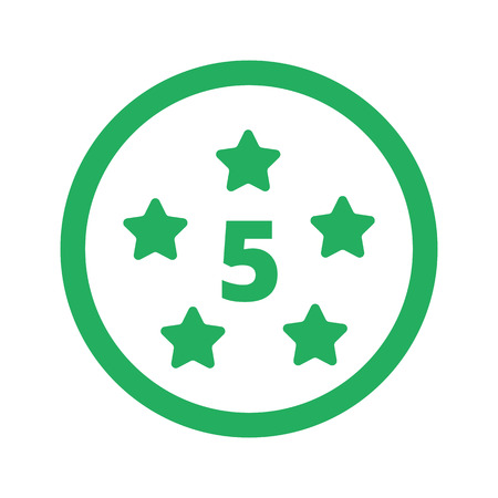 five star: Flat green Five Star icon and green circle