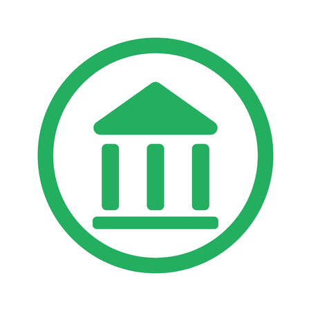 Flat green Institution icon and green circle Illustration