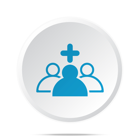 clinical staff: Flat blue Medical Team icon on circle web button on white Illustration