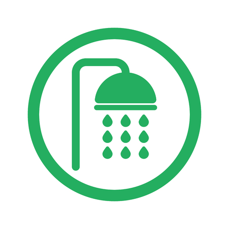 douche: Flat green Shower icon and green circle Illustration