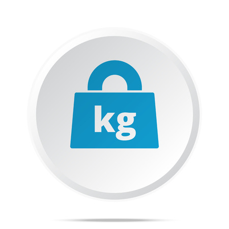 lbs: Flat blue Weight Kilograms icon on circle web button on white
