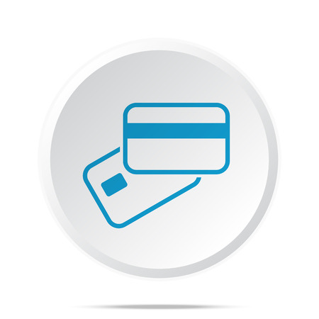 supplier: Flat blue Credit Card Payment icon on circle web button on white