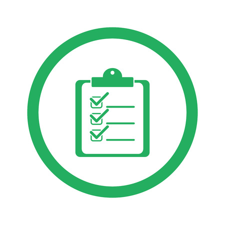 Flat green Clipboard Checklist icon and green circle