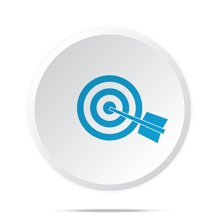 Flat blue Target icon on circle web button on white Illustration