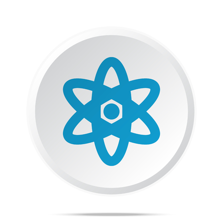 fission: Flat blue Nuclear icon on circle web button on white Illustration