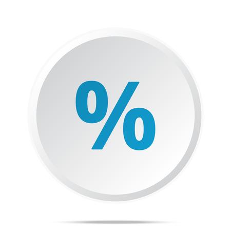 rebate: Flat blue Percentage icon on circle web button on white
