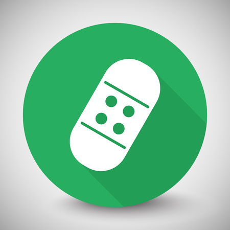 long recovery: White Adhesive Bandage icon with long shadow on green circle Illustration