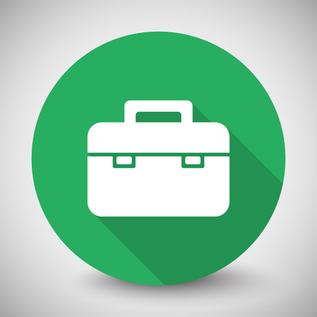 White Briefcase icon with long shadow on green circle