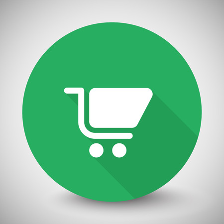 White Shopping Cart icon with long shadow on green circle