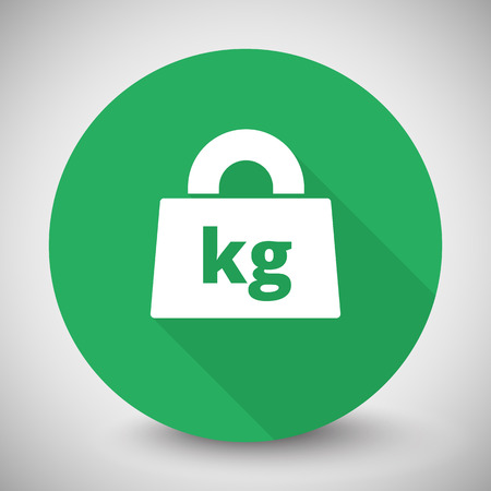 White Weight Kilograms icon with long shadow on green circle