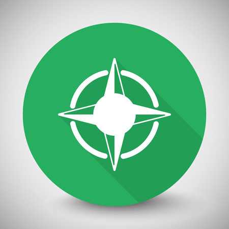 compass rose: White Compass Rose icon with long shadow on green circle