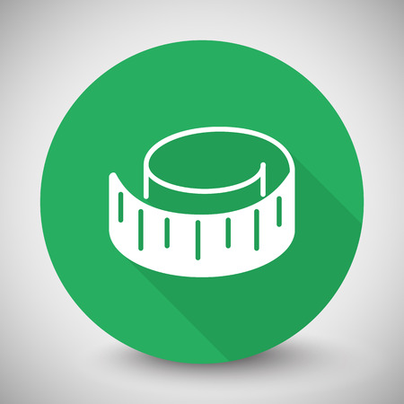 centimeters: White Measuring Tape icon with long shadow on green circle Illustration