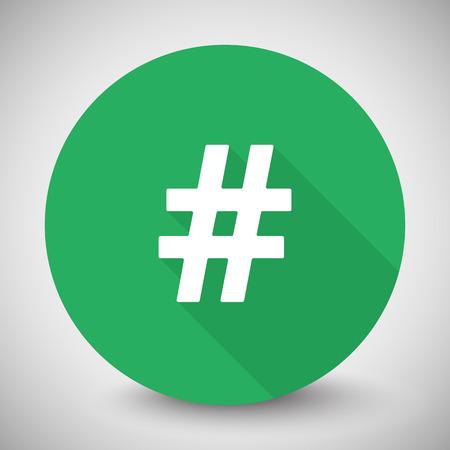 tweet icon: White Hashtag icon with long shadow on green circle Illustration