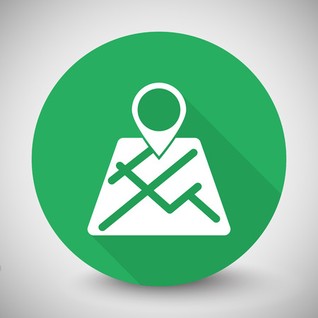 white pointer: White Map Pointer icon with long shadow on green circle Illustration