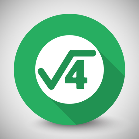 square root: White Square Root icon with long shadow on green circle