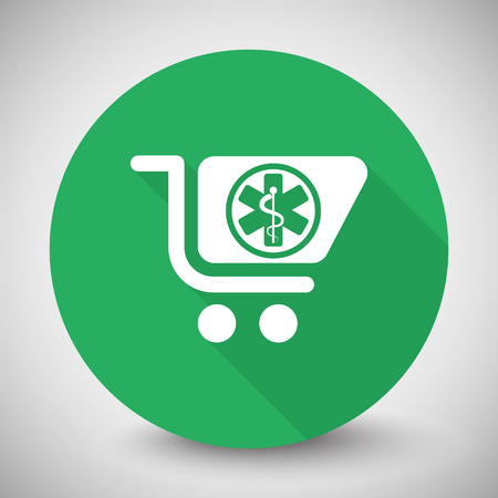 pharmacy store: White Pharmacy Store icon with long shadow on green circle