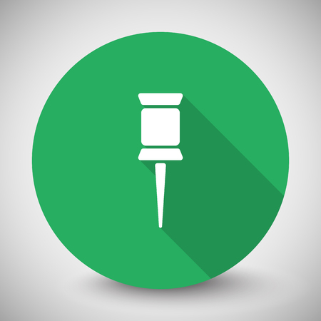 white pushpin: White Pushpin icon with long shadow on green circle