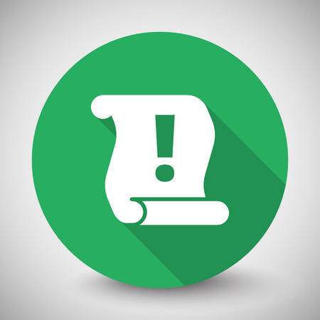 important information: White Important Information icon with long shadow on green circle