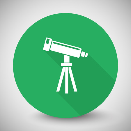 benchmark: White Telescope icon with long shadow on green circle
