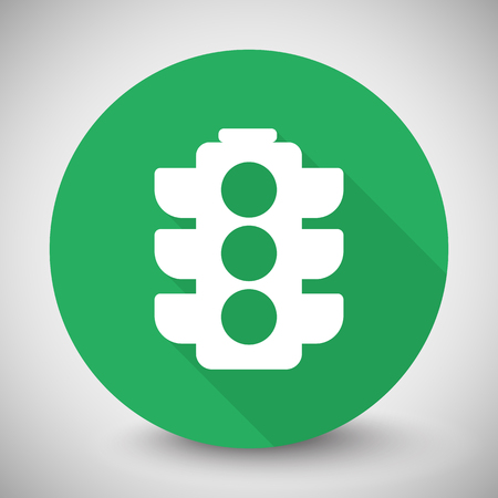 light backround: White Traffic Light icon with long shadow on green circle